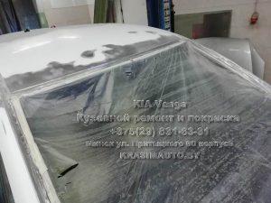 Kia Venga 2012 г.в. чистка рамки лобового стекла