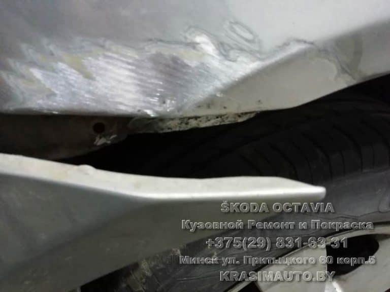 удаление ржавчины с крыльев skoda octavia 2012 г.в.