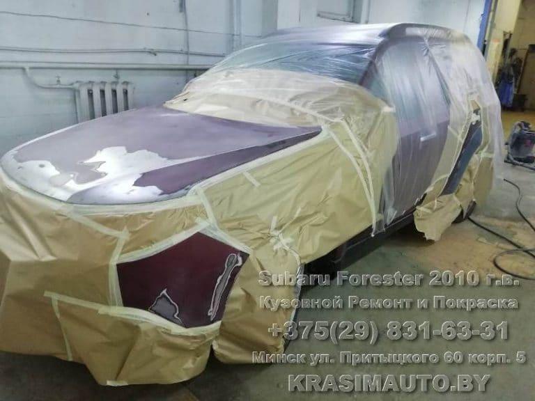 Subaru Forester 2010 г.в. подготовка к покраске капота и переднего бампера