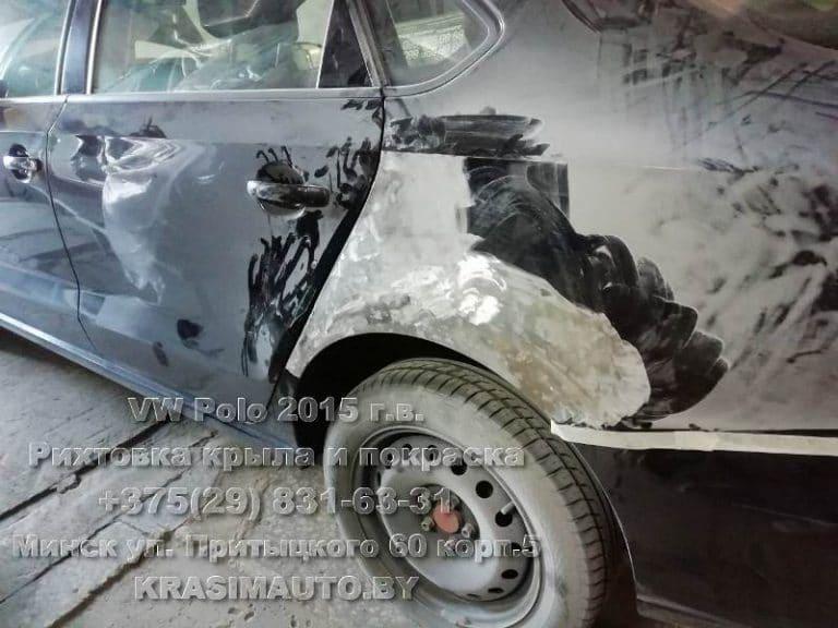 VW Polo 2015 г.в. рихтовка крыла