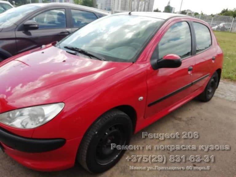 Peugeot 206 покраска в камере на СТО в Минске