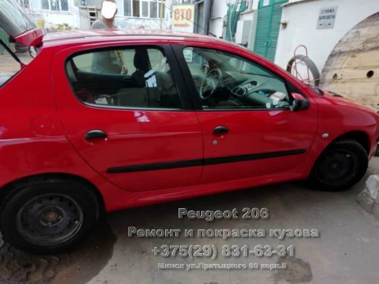 покраска в камере Peugeot 206 в Минске
