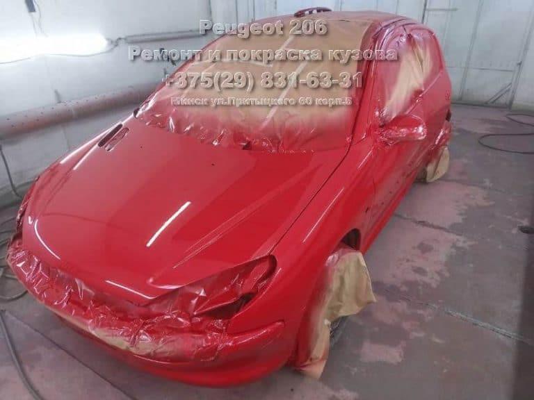 Peugeot 206 покраска в камере