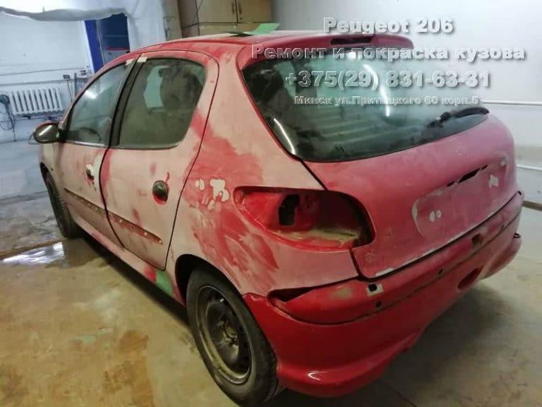 подготовка к покраске Peugeot 206