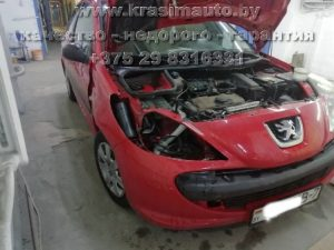 ремонт кузова и покраска Peugeot 206 на СТО в Минске
