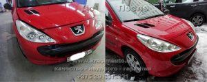 ремонт кузова и покраска Peugeot 206 после дтп Минск