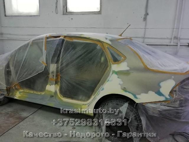 выравнивание поверхности кузова перед покраской VW Polo 2016 г.в.