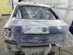 Skoda Rapid после ДТП - вытяжка задней части и капота, покраска