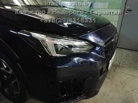 Subaru Forester после ДТП - ремонт бампера, крыла, пайка фары, покраска бампера на СТО в Минске +375298316331